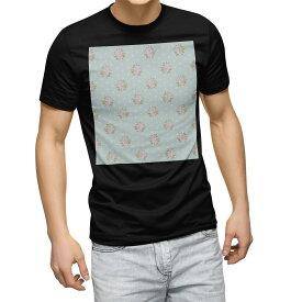 tシャツ メンズ 半袖 ブラック デザイン XS S M L XL 2XL Tシャツ ティーシャツ T shirt 黒 011093 花 水玉 フラワー