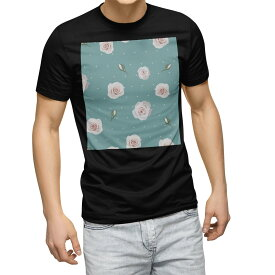 tシャツ メンズ 半袖 ブラック デザイン XS S M L XL 2XL Tシャツ ティーシャツ T shirt 黒 011099 花 水玉 緑