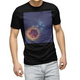 tシャツ メンズ 半袖 ブラック デザイン XS S M L XL 2XL Tシャツ ティーシャツ T shirt 黒 011808 宇宙 星 惑星