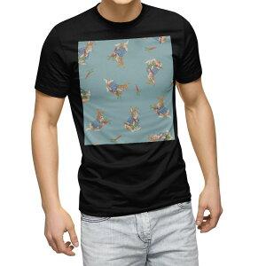 tシャツ メンズ 半袖 ブラック デザイン XS S M L XL 2XL Tシャツ ティーシャツ T shirt 黒 013544 うさぎ にんじん ラビット