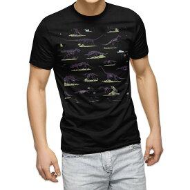 tシャツ メンズ 半袖 ブラック デザイン XS S M L XL 2XL Tシャツ ティーシャツ T shirt 黒 013913 恐竜 生き物