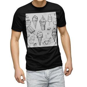 tシャツ メンズ 半袖 ブラック デザイン XS S M L XL 2XL Tシャツ ティーシャツ T shirt 黒 014238 アイス イチゴ フルーツ