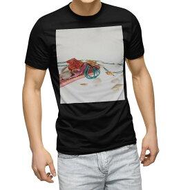 tシャツ メンズ 半袖 ブラック デザイン XS S M L XL 2XL Tシャツ ティーシャツ T shirt 黒 014280 夏 貝殻 サンダル