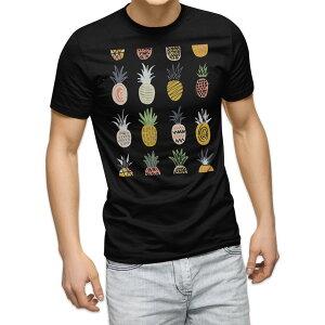tシャツ メンズ 半袖 ブラック デザイン XS S M L XL 2XL Tシャツ ティーシャツ T shirt 黒 016125 パイナップル 果実
