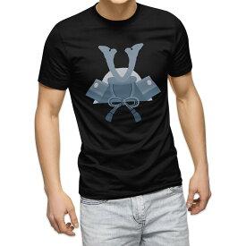 Tシャツ メンズ 半袖 ブラック デザイン XS S M L XL 2XL Tシャツ ティーシャツ T shirt 黒 017650 子供の日 兜 端午の節句 カブト
