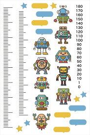 ウォールステッカー 身長計 記念 目盛り 子供部屋 ロボット かわいい 90×60cm シール式 装飾 おしゃれ 壁紙 はがせる 剥がせる カッティングシート wall sticker 雑貨 ガラス 窓 DIY プチリフォーム