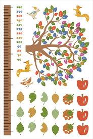 ウォールステッカー 身長計 記念 木 木の実 リス かわいい 90×60cm シール式 装飾 おしゃれ 壁紙 はがせる 剥がせる カッティングシート wall sticker 雑貨 DIY プチリフォーム