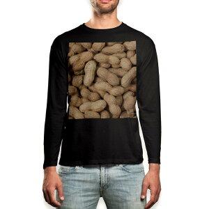 ロング tシャツ メンズ 長袖 ブラック デザイン XS S M L XL 2XL ロンT ティーシャツ 黒 black T shirt long sleeve 000276 ピーナツ 落花生 食べ物