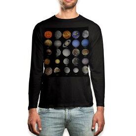 ロング tシャツ メンズ 長袖 ブラック デザイン XS S M L XL 2XL ロンT ティーシャツ 黒 black T shirt long sleeve 002781 宇宙 惑星