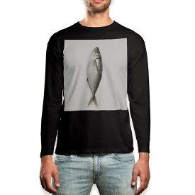 ロング tシャツ メンズ 長袖 ブラック デザイン XS S M L XL 2XL ロンT ティーシャツ 黒 black T shirt long sleeve 005850 写真 魚 あじ