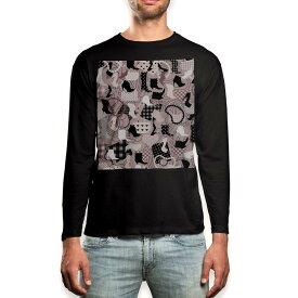 ロング tシャツ メンズ 長袖 ブラック デザイン XS S M L XL 2XL ロンT ティーシャツ 黒 black T shirt long sleeve 007669 靴 ヒール ネックレス 鞄