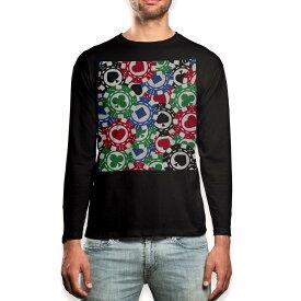 ロング tシャツ メンズ 長袖 ブラック デザイン XS S M L XL 2XL ロンT ティーシャツ 黒 black T shirt long sleeve 008743 チップ トランプ カジノ