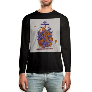 ロング tシャツ メンズ 長袖 ブラック デザイン XS S M L XL 2XL ロンT ティーシャツ 黒 black T shirt long sleeve 009175 果物 オレンジ 紫