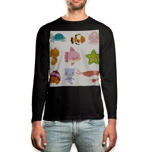 ロング tシャツ メンズ 長袖 ブラック デザイン XS S M L XL 2XL ロンT ティーシャツ 黒 black T shirt long sleeve 009347 動物 キャラクター カラフル