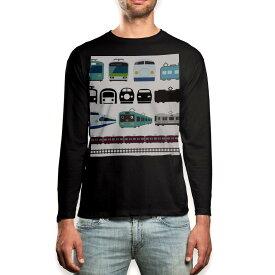ロング tシャツ メンズ 長袖 ブラック デザイン XS S M L XL 2XL ロンT ティーシャツ 黒 black T shirt long sleeve 009587 乗り物 電車 こども