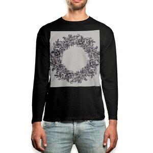 ロング tシャツ メンズ 長袖 ブラック デザイン XS S M L XL 2XL ロンT ティーシャツ 黒 black T shirt long sleeve 009661 リース アンティーク フラワー