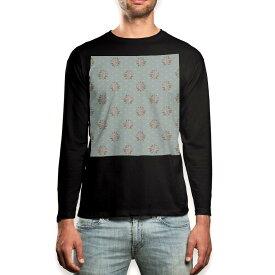 ロング tシャツ メンズ 長袖 ブラック デザイン XS S M L XL 2XL ロンT ティーシャツ 黒 black T shirt long sleeve 011093 花 水玉 フラワー