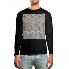 ロング tシャツ メンズ 長袖 ブラック デザイン XS S M L XL 2XL ロンT ティーシャツ 黒 black T shirt long sleeve 011094 花 水玉 ボーダー