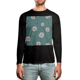 ロング tシャツ メンズ 長袖 ブラック デザイン XS S M L XL 2XL ロンT ティーシャツ 黒 black T shirt long sleeve 011099 花 水玉 緑