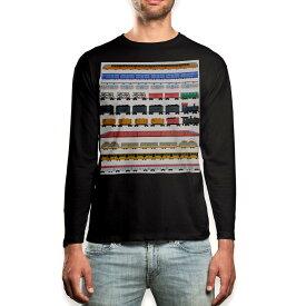 ロング tシャツ メンズ 長袖 ブラック デザイン XS S M L XL 2XL ロンT ティーシャツ 黒 black T shirt long sleeve 013183 乗り物 電車 汽車