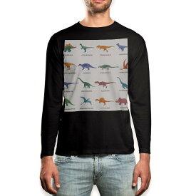 ロング tシャツ メンズ 長袖 ブラック デザイン XS S M L XL 2XL ロンT ティーシャツ 黒 black T shirt long sleeve 013280 恐竜 英語 文字