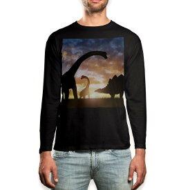 ロング tシャツ メンズ 長袖 ブラック デザイン XS S M L XL 2XL ロンT ティーシャツ 黒 black T shirt long sleeve 013281 恐竜 シルエット 夕日