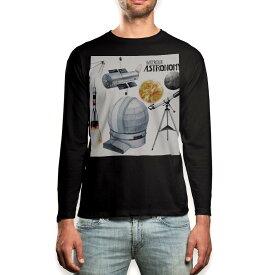 ロング tシャツ メンズ 長袖 ブラック デザイン XS S M L XL 2XL ロンT ティーシャツ 黒 black T shirt long sleeve 013331 ロケット 宇宙 惑星