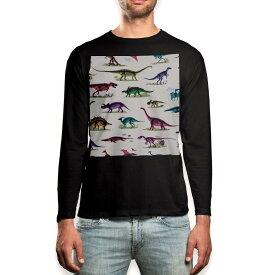 ロング tシャツ メンズ 長袖 ブラック デザイン XS S M L XL 2XL ロンT ティーシャツ 黒 black T shirt long sleeve 013985 恐竜 カラフル