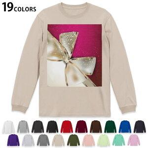 選べる19カラー tシャツ メンズ レディース ユニセックス unisex 長袖 デザイン XS S M L XL 2XL Tシャツ ティーシャツ T shirt 000228 ラグジュアリー リボン ピンク プレゼント