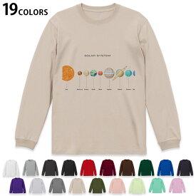 選べる19カラー tシャツ メンズ レディース ユニセックス unisex 長袖 デザイン XS S M L XL 2XL Tシャツ ティーシャツ T shirt 015931 太陽系 宇宙 惑星
