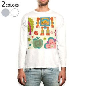ロング tシャツ メンズ 長袖 ホワイト グレー デザイン XS S M L XL 2XL Tシャツ ティーシャツ T shirt long sleeve 004117 花 果物 イラスト カラフル