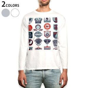 ロング tシャツ メンズ 長袖 ホワイト グレー デザイン XS S M L XL 2XL Tシャツ ティーシャツ T shirt long sleeve 004514 マリン ワッペン イラスト