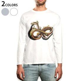 ロング tシャツ メンズ 長袖 ホワイト グレー デザイン XS S M L XL 2XL Tシャツ ティーシャツ T shirt long sleeve 007828 蛇 へび イラスト 蛙 カエル