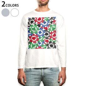 ロング tシャツ メンズ 長袖 ホワイト グレー デザイン XS S M L XL 2XL Tシャツ ティーシャツ T shirt long sleeve 008743 チップ トランプ カジノ