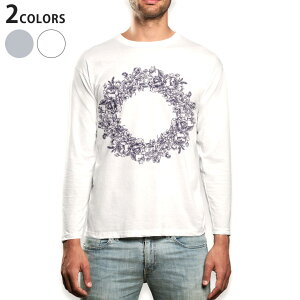 ロング tシャツ メンズ 長袖 ホワイト グレー デザイン XS S M L XL 2XL Tシャツ ティーシャツ T shirt long sleeve 009661 リース アンティーク フラワー