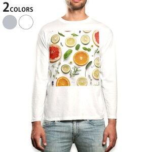 ロング tシャツ メンズ 長袖 ホワイト グレー デザイン XS S M L XL 2XL Tシャツ ティーシャツ T shirt long sleeve 014840 果物 自然 オレンジ