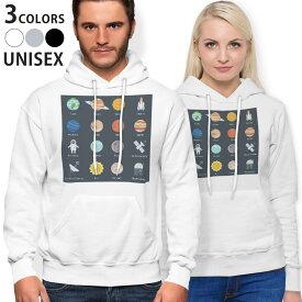 パーカー 男女 メンズ レディース 長袖 ホワイト グレー ブラック デザイン 150 S M L XL 2XL parker hooded sweatshirt フーディ 白 黒 灰色 015992 太陽系 宇宙 惑星