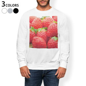 トレーナー メンズ 長袖 ホワイト グレー ブラック デザイン XS S M L XL 2XL sweatshirt trainer 白 黒 灰色 裏起毛 スウェット 000149 苺 いちご 赤 果物