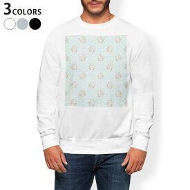 トレーナー メンズ 長袖 ホワイト グレー ブラック デザイン XS S M L XL 2XL sweatshirt trainer 白 黒 灰色 裏起毛 スウェット 011093 花 水玉 フラワー