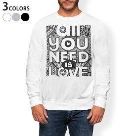 トレーナー メンズ 長袖 ホワイト グレー ブラック デザイン XS S M L XL 2XL sweatshirt trainer 白 黒 灰色 裏起毛 スウェット 014244 英語 文字 ハート
