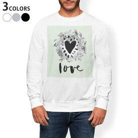 トレーナー メンズ 長袖 ホワイト グレー ブラック デザイン XS S M L XL 2XL sweatshirt trainer 白 黒 灰色 裏起毛 スウェット 014539 リーフ ハート LOVE