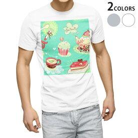 tシャツ メンズ 半袖 ホワイト グレー デザイン XS S M L XL 2XL Tシャツ ティーシャツ T shirt 005713 スイーツ イラスト 模様
