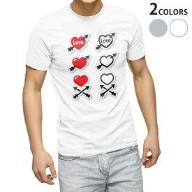 tシャツ メンズ 半袖 ホワイト グレー デザイン XS S M L XL 2XL Tシャツ ティーシャツ T shirt 006568 ハート イラスト