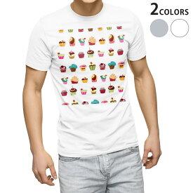 tシャツ メンズ 半袖 ホワイト グレー デザイン XS S M L XL 2XL Tシャツ ティーシャツ T shirt 008372 お菓子 スイーツ カラフル 模様