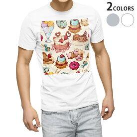 tシャツ メンズ 半袖 ホワイト グレー デザイン XS S M L XL 2XL Tシャツ ティーシャツ T shirt 008480 お菓子 スイーツ イラスト カラフル