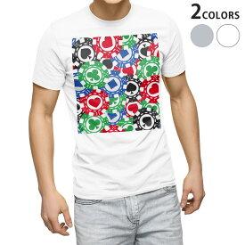 tシャツ メンズ 半袖 ホワイト グレー デザイン XS S M L XL 2XL Tシャツ ティーシャツ T shirt 008743 チップ トランプ カジノ