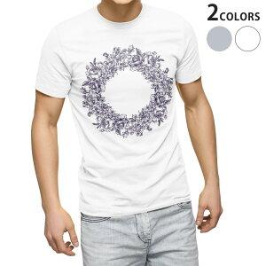 tシャツ メンズ 半袖 ホワイト グレー デザイン XS S M L XL 2XL Tシャツ ティーシャツ T shirt 009661 リース アンティーク フラワー