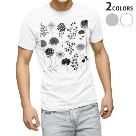 tシャツ メンズ 半袖 ホワイト グレー デザイン XS S M L XL 2XL Tシャツ ティーシャツ T shirt 013428 モノトーン 花 葉
