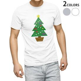 tシャツ メンズ 半袖 ホワイト グレー デザイン XS S M L XL 2XL Tシャツ ティーシャツ T shirt 017666 クリスマス ツリー クリスマス カラフル