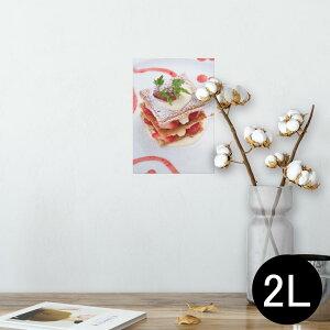 ポスター ウォールステッカー シール式ステッカー 飾り 127×178mm 2L 写真 フォト 壁 インテリア おしゃれ  剥がせる wall sticker poster 000193 ケーキ いちご ミルフィーユ